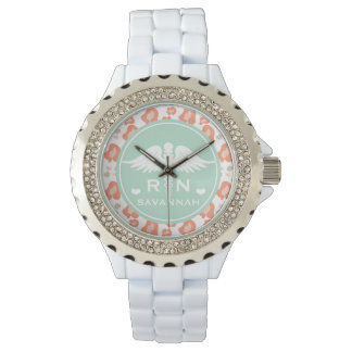 TEAL AND CORAL LEOPARD PRINT NURSE RN WATCH