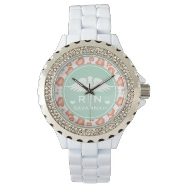 Beach Themed TEAL AND CORAL LEOPARD PRINT NURSE RN WATCH