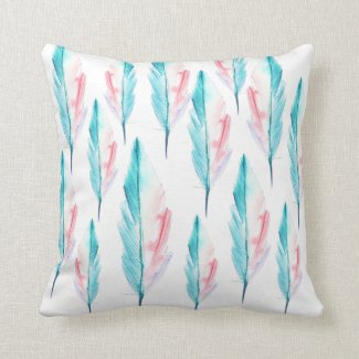 Teal and Coral Watercolor Feather Throw Pillow