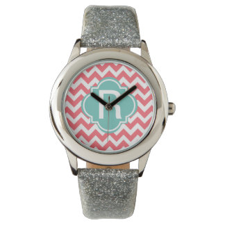 Teal and Coral Zig Zag Wristwatch Customizable