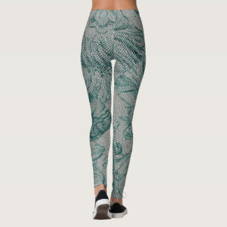 Teal and cream colored Leggings