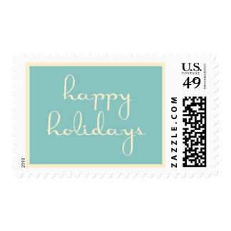 Teal and Cream Happy Holidays Postage