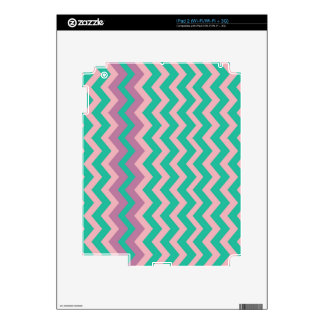 Teal and Cream Zigzags Bordered Decals For iPad 2