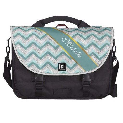 Teal and Crystal Zigzag Pattern Laptop Bags