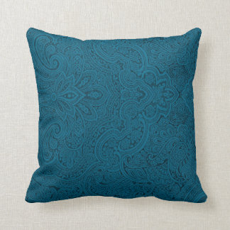 Teal and dark blue paisley throw pillow