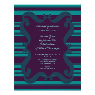 "Teal and Dark Blue Striped Wedding 8.5"" X 11"" Flyer"