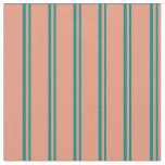 [ Thumbnail: Teal and Dark Salmon Colored Lines Fabric ]