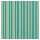 [ Thumbnail: Teal and Dark Sea Green Colored Lined Pattern Fabric ]