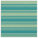 [ Thumbnail: Teal and Dark Sea Green Colored Stripes Fabric ]
