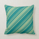 [ Thumbnail: Teal and Dark Sea Green Colored Stripes Pillow ]
