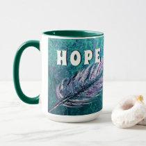 Teal and feather Ovarian Cancer Hope Mug