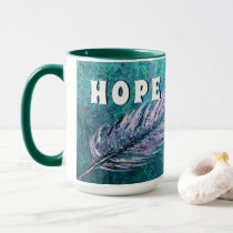 Teal and feather Ovarian Cancer Hope Mug