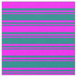 [ Thumbnail: Teal and Fuchsia Colored Lined/Striped Pattern Fabric ]