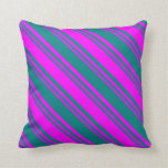 [ Thumbnail: Teal and Fuchsia Colored Lined/Striped Pattern Throw Pillow ]