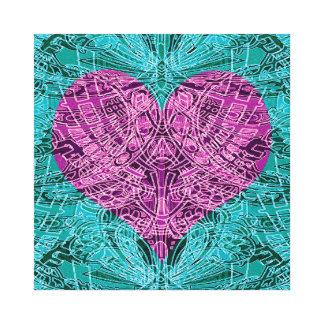 Teal and Fuschia Line Art Heart Canvas Print