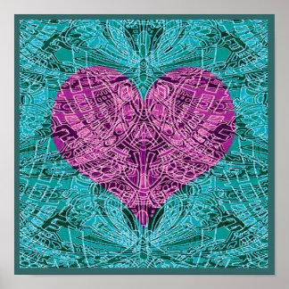 Teal and Fuschia Line Art Heart Poster