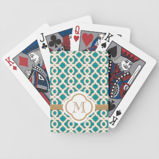 Teal and Gold Bicycle Card Deck
