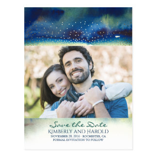 Teal and Gold Dots Watercolor Photo Save the Date Postcard