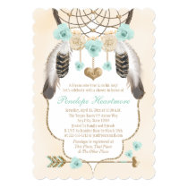 Teal and Gold Dreamcatcher Boho Baby Boy Shower Card