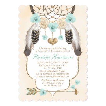 Toddler & Baby themed Teal and Gold Dreamcatcher Boho Baby Boy Shower Card
