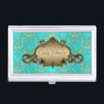 """Teal and Gold Fancy Damask Business Card Holder<br><div class=""""desc"""">A cute damask I created in teal and gold/yellow.  Just change the name to customize it.</div>"""