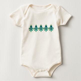 Teal and Gold Fleur de Lis Art Baby Bodysuit
