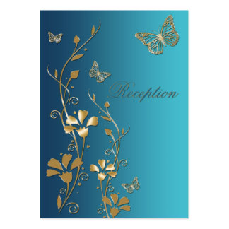 Teal and Gold Floral Butterflies Enclosure Card Large Business Card