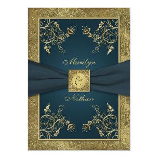Teal and Gold Floral Monogram Wedding Invitation