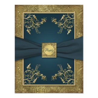 Teal and Gold Floral RSVP Card