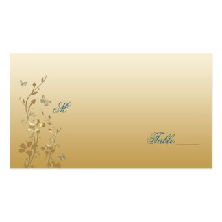 Teal and Gold Floral with Butterflies Placecards Business Card