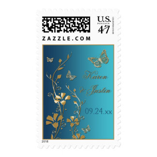 Teal and Gold Floral with Butterflies Postage