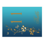 Teal and Gold Floral with Butterflies Table Number Post Card