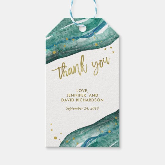 Wedding Thank You Gift Tags: Teal And Gold Geode Wedding Favor Thank You Gift Tags
