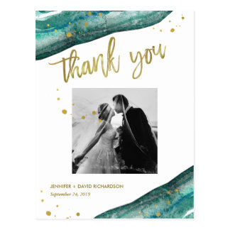 Teal and Gold Geode Wedding Photo Thank You Postcard