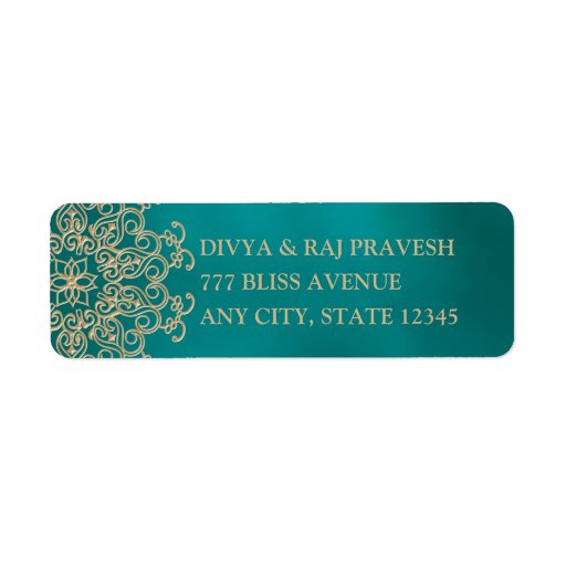 TEAL AND GOLD INDIAN INSPIRED ADDRESS LABELS