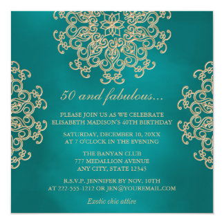 TEAL AND GOLD INDIAN INSPIRED BIRTHDAY CARD