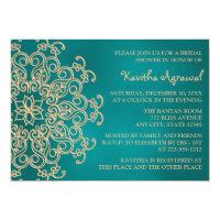Teal and Gold Indian Inspired Bridal Shower 5x7 Paper Invitation Card (<em>$2.16</em>)