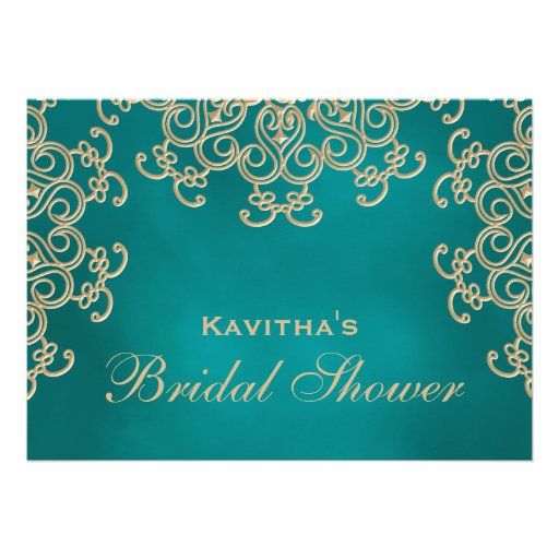 Teal and Gold Indian Inspired Bridal Shower Custom Announcements (back side)