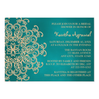 Teal and Gold Indian Inspired Bridal Shower 5x7 Paper Invitation Card