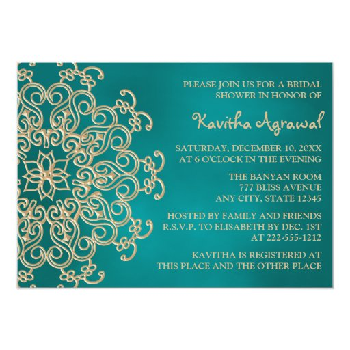 "Teal and Gold Indian Inspired Bridal Shower 5"" X 7"" Invitation Card"