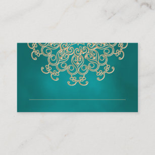 teal and gold indian inspired seating place card