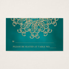 Teal And Gold Indian Inspired Seating Place Card at Zazzle