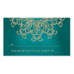 Teal and Gold Indian Inspired Seating Place Card Double-Sided Standard Business Cards (Pack Of 100)