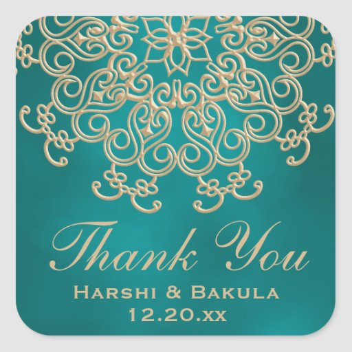 TEAL AND GOLD INDIAN INSPIRED THANK YOU LABEL STICKERS
