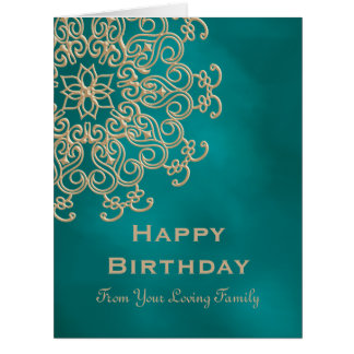 Teal AND GOLD INDIAN ISPIRED BIRTHDAY CARD