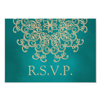 TEAL AND GOLD INDIAN RESPONSE RSVP CARD INVITATIONS