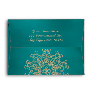TEAL AND GOLD INDIAN STYLE ENVELOPE
