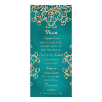 Teal and Gold Indian Style Menu Cards Rack Card Template