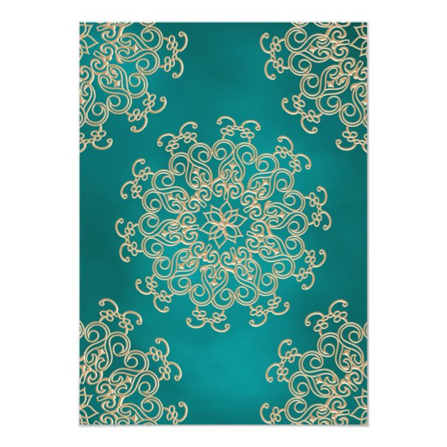 TEAL AND GOLD INDIAN STYLE WEDDING INVITATION (back side)