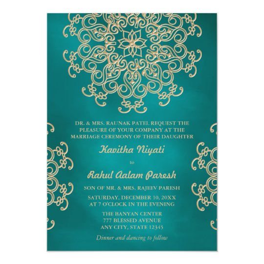 TEAL AND GOLD INDIAN STYLE WEDDING INVITATION